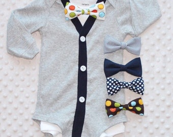 Baby Boy Cardigan and Bow Tie Set, Baby Bow Tie Outfit, Baby Boy Clothes, Baby Suit, Preppy Baby Boy Outfit