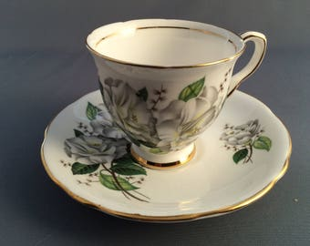 Royal Stafford Camellia Porcelain Coffee Cup and Saucer.