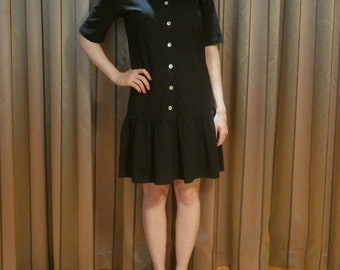 Vintage 1980s flapper style black drop waist cotton jersey T-Shirt summer dress M