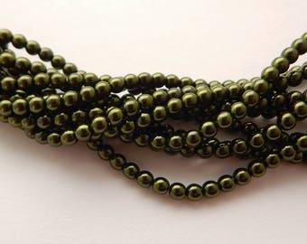 4mm Round Czech Glass Pearl Hunter Green (120 beads)