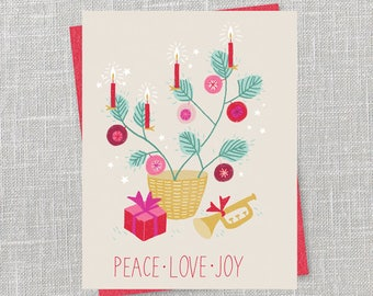 Little Tree Holiday Notecard Instant Download PDF