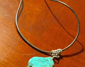 Slab Cut Genuine Turquoise Necklace