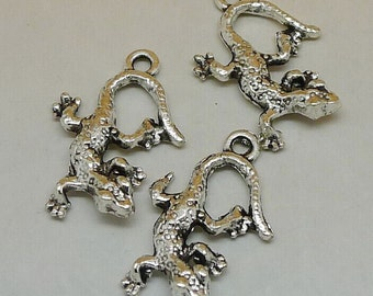 20pcs Gecko Charms, 11x23mm Antique Silver Gecko Charms, Lizard Charms Pendant, Chameleon Charms, Reptile Charms