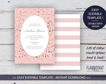 CONFETTI Suite - Bridal Shower - Editable Template - Gold & Rose Gold-Effect Confetti - Printable - Instant Download
