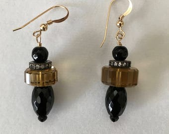Citrine and Black Onyx earrings