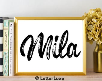 Mila Name Art - Printable Gallery Wall - Living Room Printable - Digital Print - Bedroom Decor - Last Minute Gift for Mom or Girlfriend