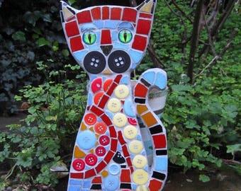 Mosaic Cat wall decor, hanging, cat wall art, size 27cm x 13cm