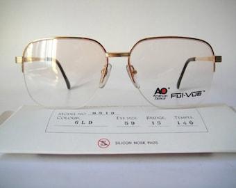 АО 9319 American Optical 59-15 Золото плетеные рамки очки Спекуляции Винтаж Мужчины