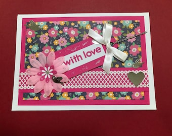 Handmade card in pink with flowers and birds and 'with love' on front