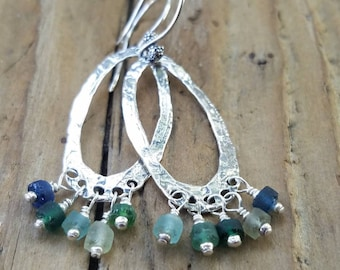 Roman Glass Earrings and Hill Tribe Silver, Sterling Silver Artisan Hoop Earrings, Roman Glass Jewelry, Blue Glass Earring