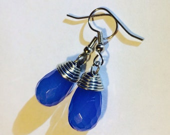 Blue Wired Wrapped Earrings