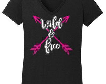 Wild & Free Vinyl Rhinestone T-Shirt Made to order