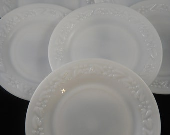 Hazel Atlas Milk Glass Seven Inch Plates (6) Embossed Floral