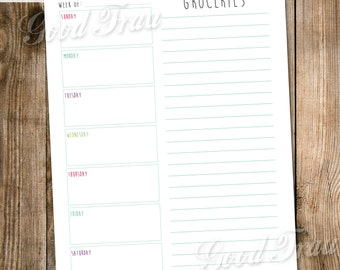 Weekly menu planner, instant download printable PDF, simple black and white or color