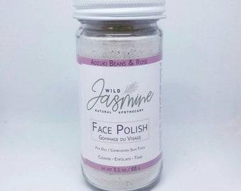 FACIAL POLISH -Adzuki Beans & Rose with Bentonite Clay, Rice Powder. Cleansing Grains, Exfoliate, Face Scrub -Oily Skin, Vegan.