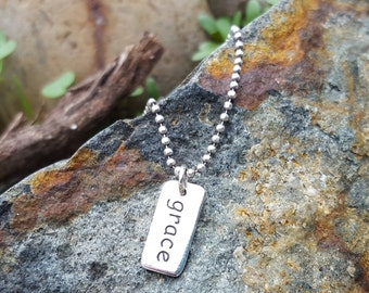 Grace Charm - Sterling Silver Spiritual Necklace - Grace Word Charm - Optional Custom Length Silver Chain