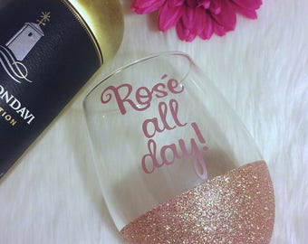 Rose All Day! Stemless Glitter Wine Glass // Glitter Glass // Stemless Wine Glass // Rose All Day // Glitter Cup // Wine Night