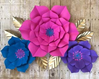 How to make paper flower wall decorations ukrandiffusion how to make paper flower wall decorations paper flowers paper flower template unicorn svg unicorn mightylinksfo