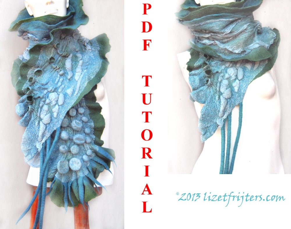 Shibori felting textured ruffled nuno felt scarf pdf tutorial zoom baditri Images
