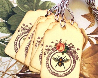 Tags Vintage Style Bee Wreath Rose Gift Tag Wedding Wish Tree Party Favor Treat Bag Tag T049