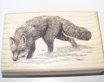 Brand New Mounted Rubber Stamp - HUNTING FOX ANIMAL