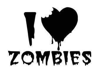 I Love Zombies Decal