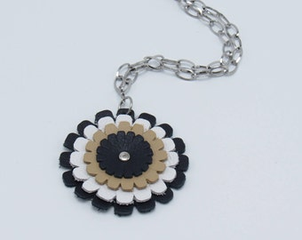 Leather Navy Blue, White & Tan Daisy Necklace
