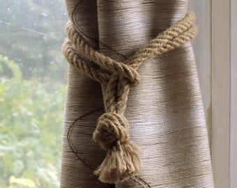 Set of 4 Hemp Rope curtain tiebacks - nautical knot tiebacks - nautical nursery window treatments