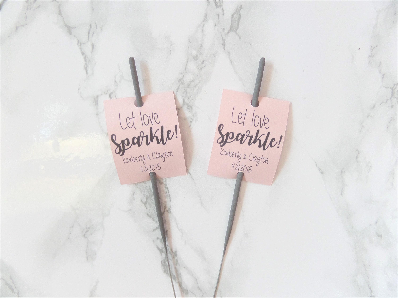 20 Blush Pink Let Love Sparkle Sparkler Tags Wedding