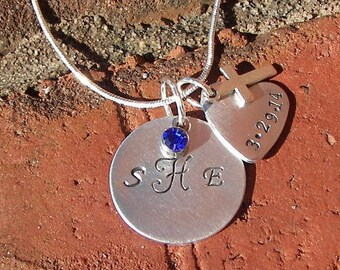 custom monogram necklace , hand stamped jewelry, personalized jewelry, dedication charm, personalized jewelry, handstamped jewelry