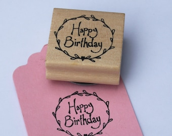 East Of India Happy Birthday With Wreath Surround Rubber Stamp / Craft