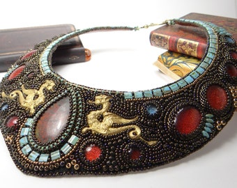 """Bead embroidered statement necklace, chrysocolla bib necklace, a pair of dragons, leather lined """"Saint George"""""""