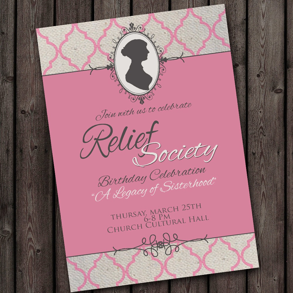Relief Society Birthday Party Invitation with FREE