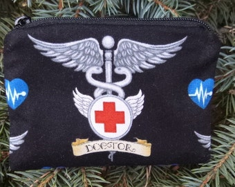 Doctor coin purse, gift card pouch, credit card pouch, Healing Doctors, The Raven