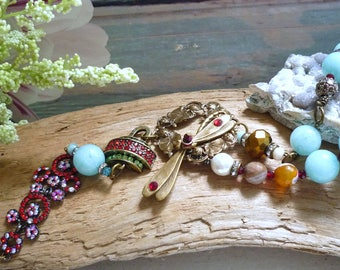 repurposed  necklace, bird vintage necklace, amazonite necklace, bird antique necklace, repurposed necklace, bracelet necklace,