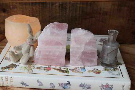 Rose Quartz Bookends 2 lbs., Raw Rose Quartz, Pink Crystal Bookends, Polished Rose Quartz Bookends, Nursery Decor, Baby Girls Bedroom