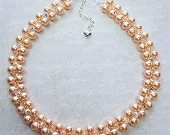 """Peach Pearl Choker """"Sophie"""" Swarovski Pearl & Crystal Choker Necklace Wedding Necklace with Sterling Silver Clasp - Extender Chain."""