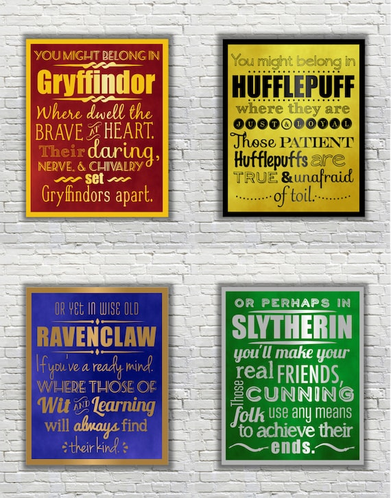 harry potter typography quote the four hogwarts houses. Black Bedroom Furniture Sets. Home Design Ideas