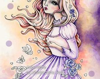 Turn Into The Wind- Instant Download Digital Stamp/ Rose Flower Butterly Moth Fantasy Art Fairy Girl by Ching-Chou Kuik