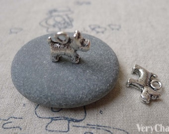 20 pcs of Antique Silver Lovely Dog Charms Pendants 12x13mm A7260