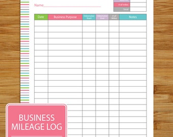 Mileage Log - Business Mileage Tracker - Auto Mileage Tracker -  Coordinates with Business Planning Set - Pink Teal Lime Lavender