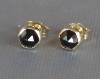 Black Spinel Studs, 14k Gold Studs, 14k yellow gold Studs, Bezel Set Spinel, Rosecut Black Spinel, August Birthstone