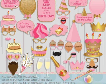 Glitter Gold Pink Birthday Party Photo Booth Props