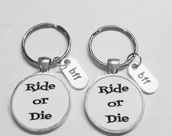 Best Friend Gift, Ride Or Die Keychain, Best Friend Keychain, Bff Best Friend Forever Christmas Gift Keychain Set