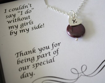 2 Bridesmaid Necklaces, Personalized Necklace, Initial & Pearl Sterling Silver Necklaces, Thank You Card, Bridesmaid Gift