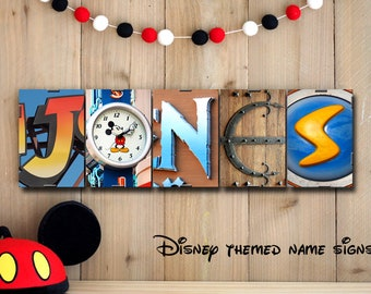 DISNEY THEMED Last Name Sign in Alphabet Photography - all letters from Disney theme parks, wall decor, personalized names