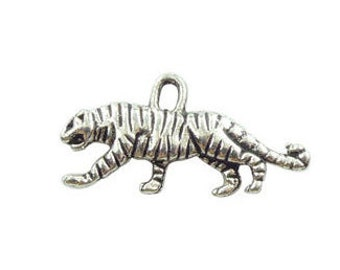 16 Silver Tiger Charm Pendant 11x22mm by TIJC SP0314