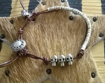 Leather strap skull