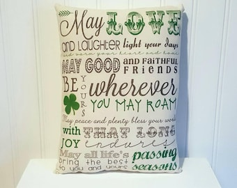 Shamrock pillow | St. Patrick's Day Pillow | St. Patricks Day decorations | Farmhouse Decor | All Saints Day | Rustic | Luck | Irish decor