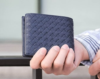 Genuine Calfskin Leather Woven Bi-Fold Mens Wallet in Navy Blue Premium Grade Genuine Leather